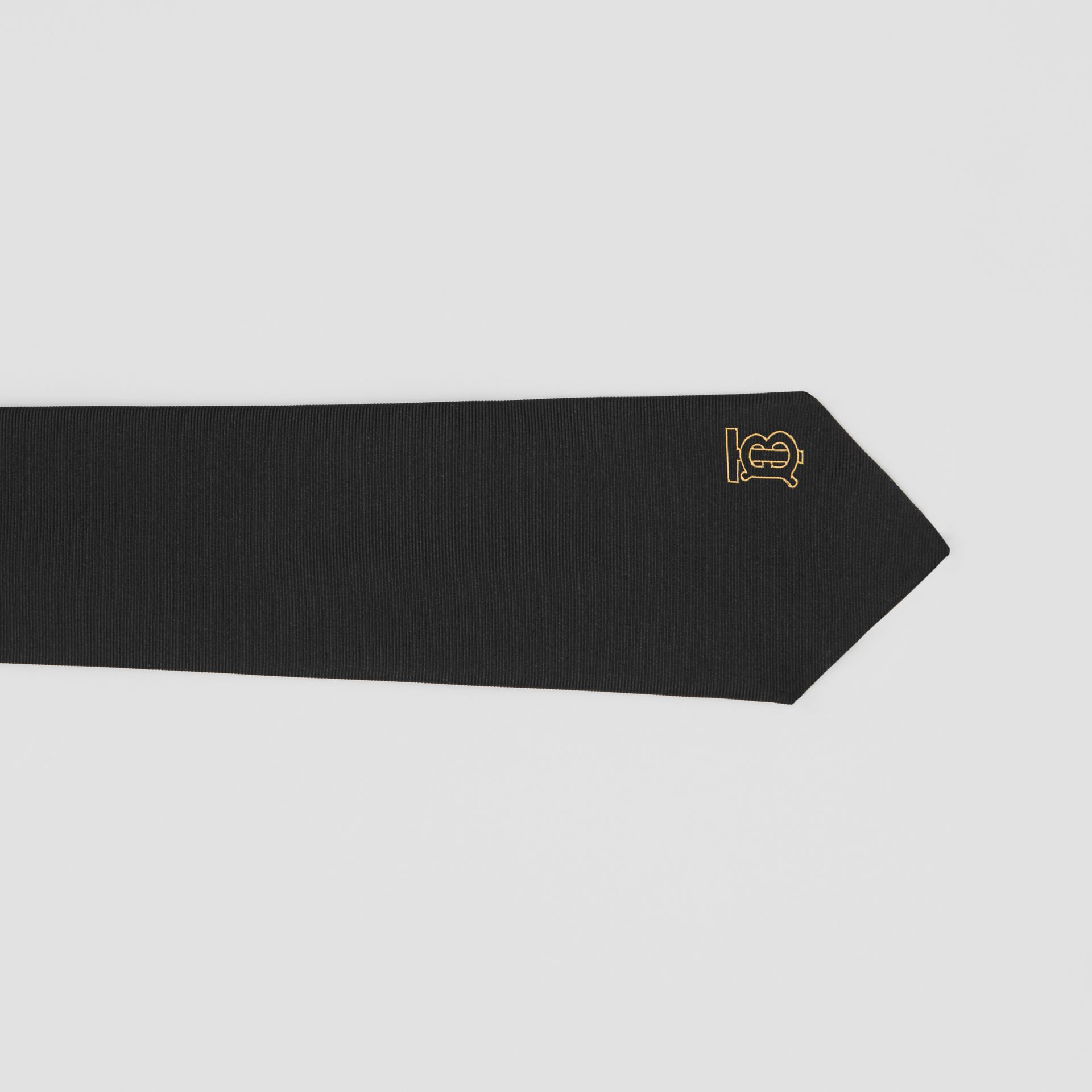 Classic Cut Monogram Motif Silk Tie in Black - Men | Burberry United Kingdom - gallery image 1