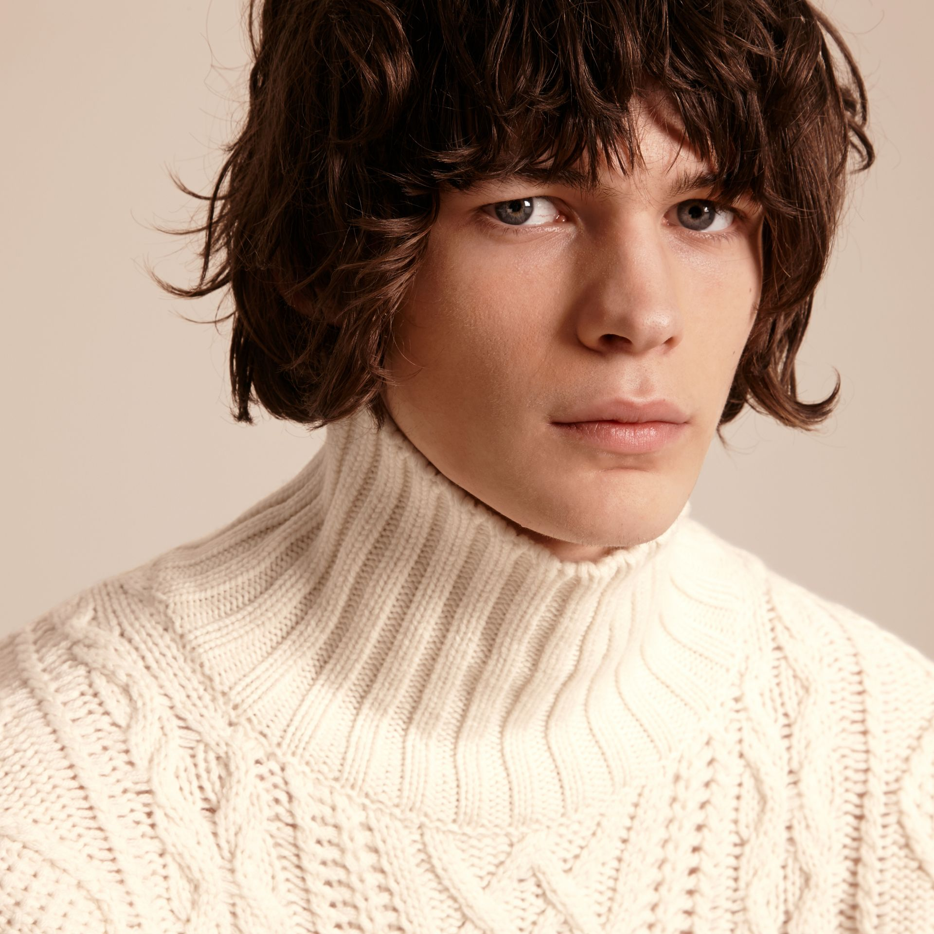 Natural white Funnel Neck Cashmere Cable Knit Sweater - gallery image 5