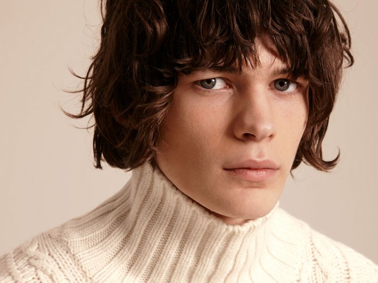 Natural white Funnel Neck Cashmere Cable Knit Sweater - cell image 4