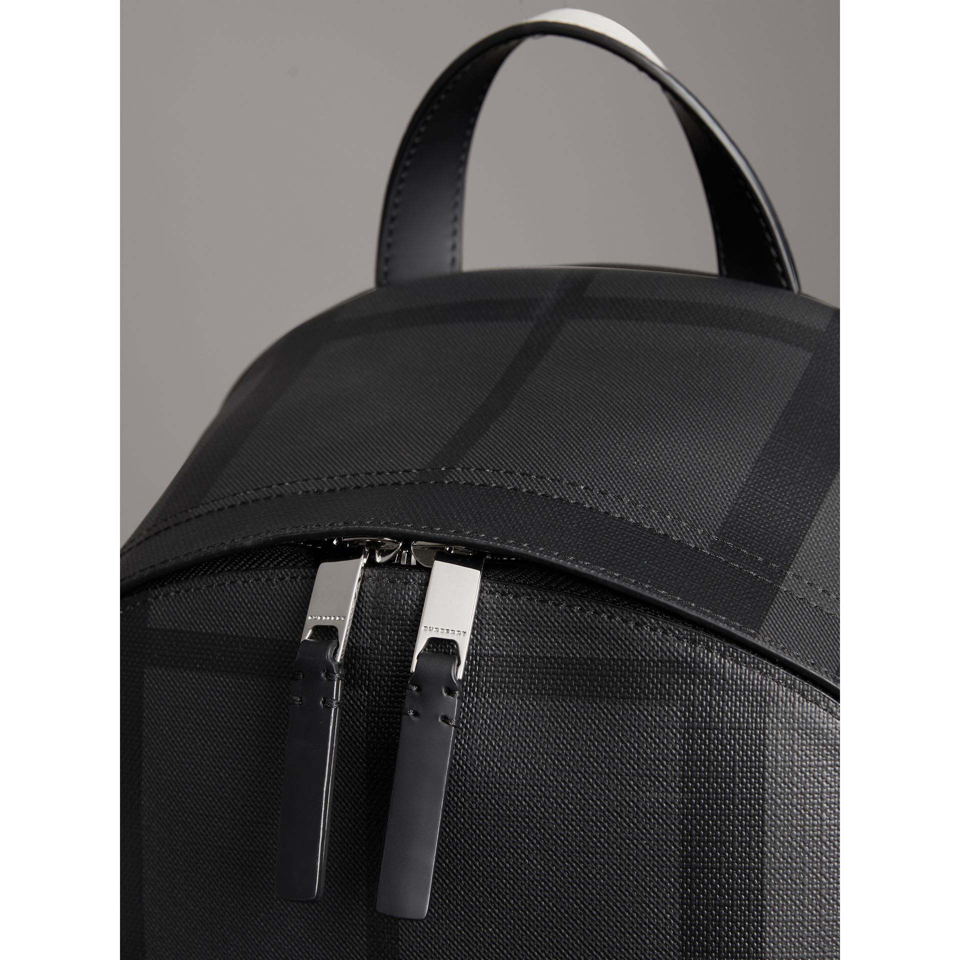 Logo Print London Check Backpack in Charcoal - Men | Burberry - gallery image 1