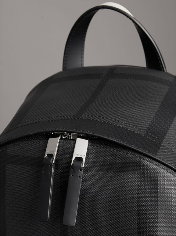 Logo Print London Check Backpack in Charcoal - Men | Burberry United Kingdom - cell image 1