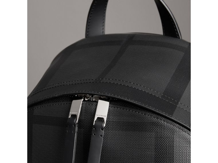 Logo Print London Check Backpack in Charcoal - Men | Burberry - cell image 1