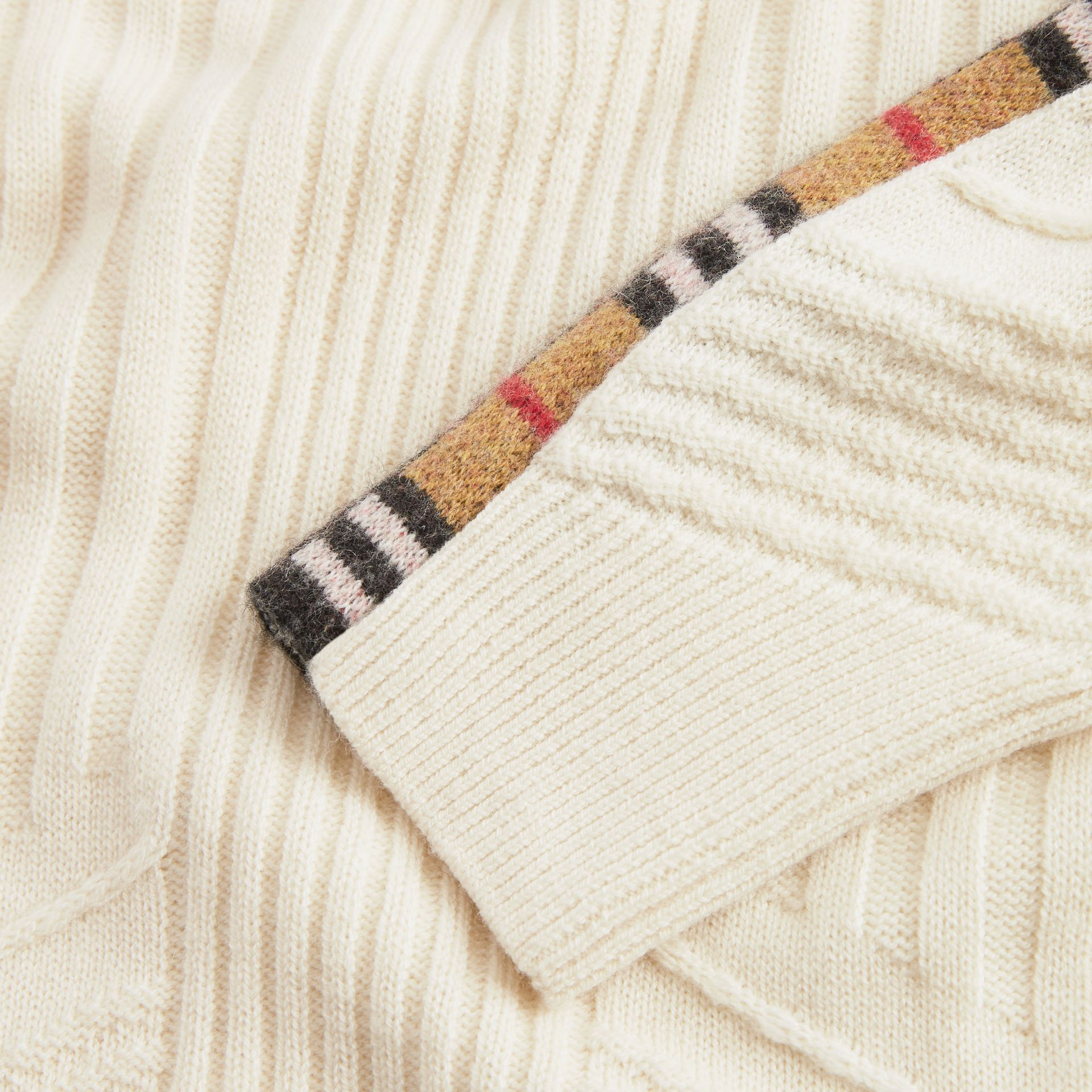 Check Detail Wool Cashmere Sweater in Ivory | Burberry - gallery image 1