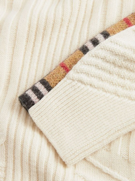 Check Detail Wool Cashmere Sweater in Ivory - Girl | Burberry - cell image 1