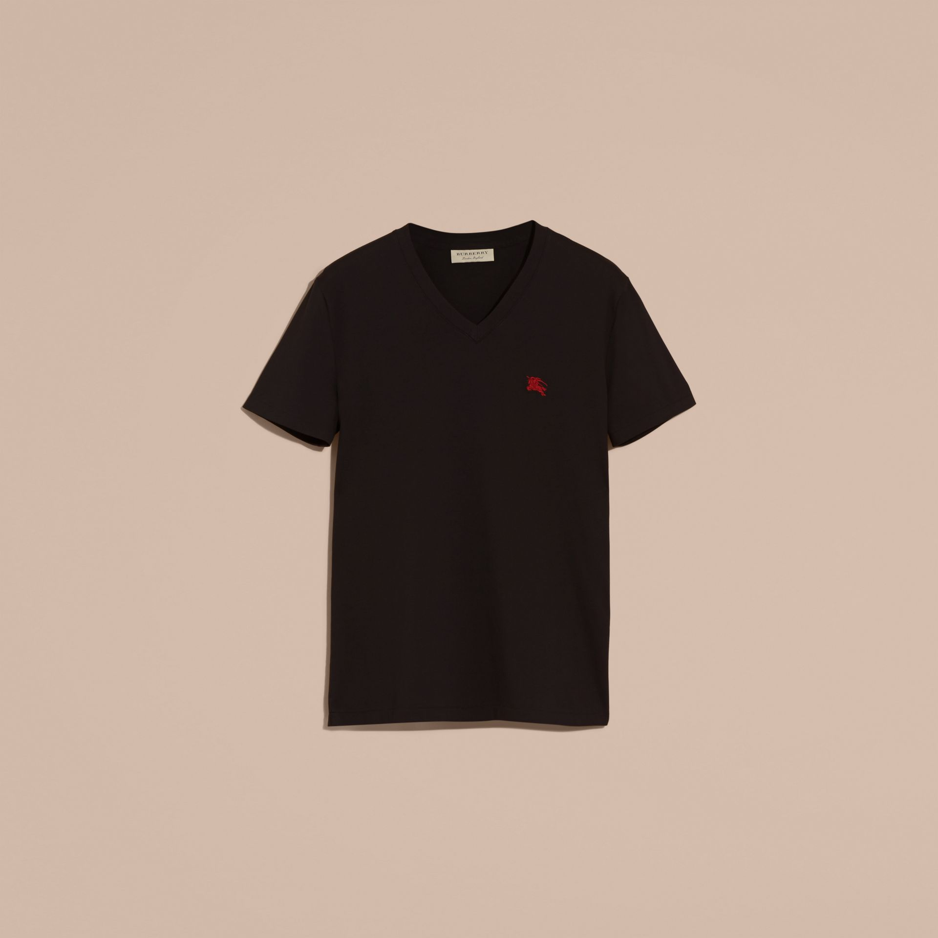 Cotton V-neck T-shirt in Black - Men | Burberry United Kingdom - gallery image 3