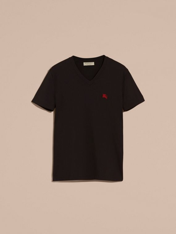 Cotton V-neck T-shirt in Black - Men | Burberry - cell image 3