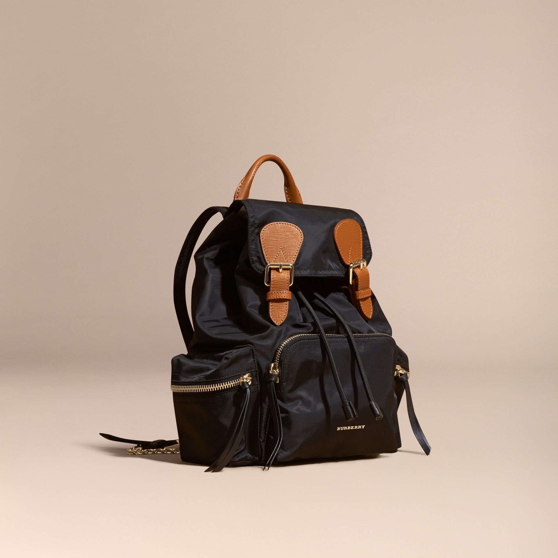 The Medium Rucksack in Technical Nylon and Leather Black - gallery image 1