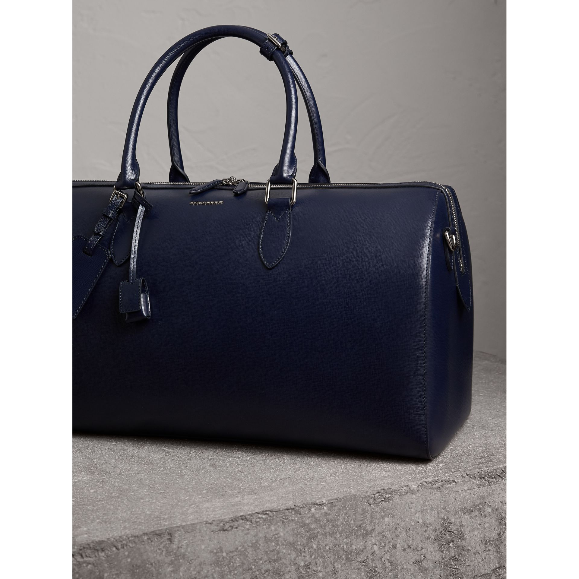 London Leather Holdall in Dark Navy - Men | Burberry - gallery image 7