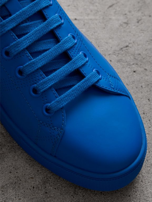 Perforated Check Leather Sneakers in Bright Sky Blue - Men | Burberry - cell image 1