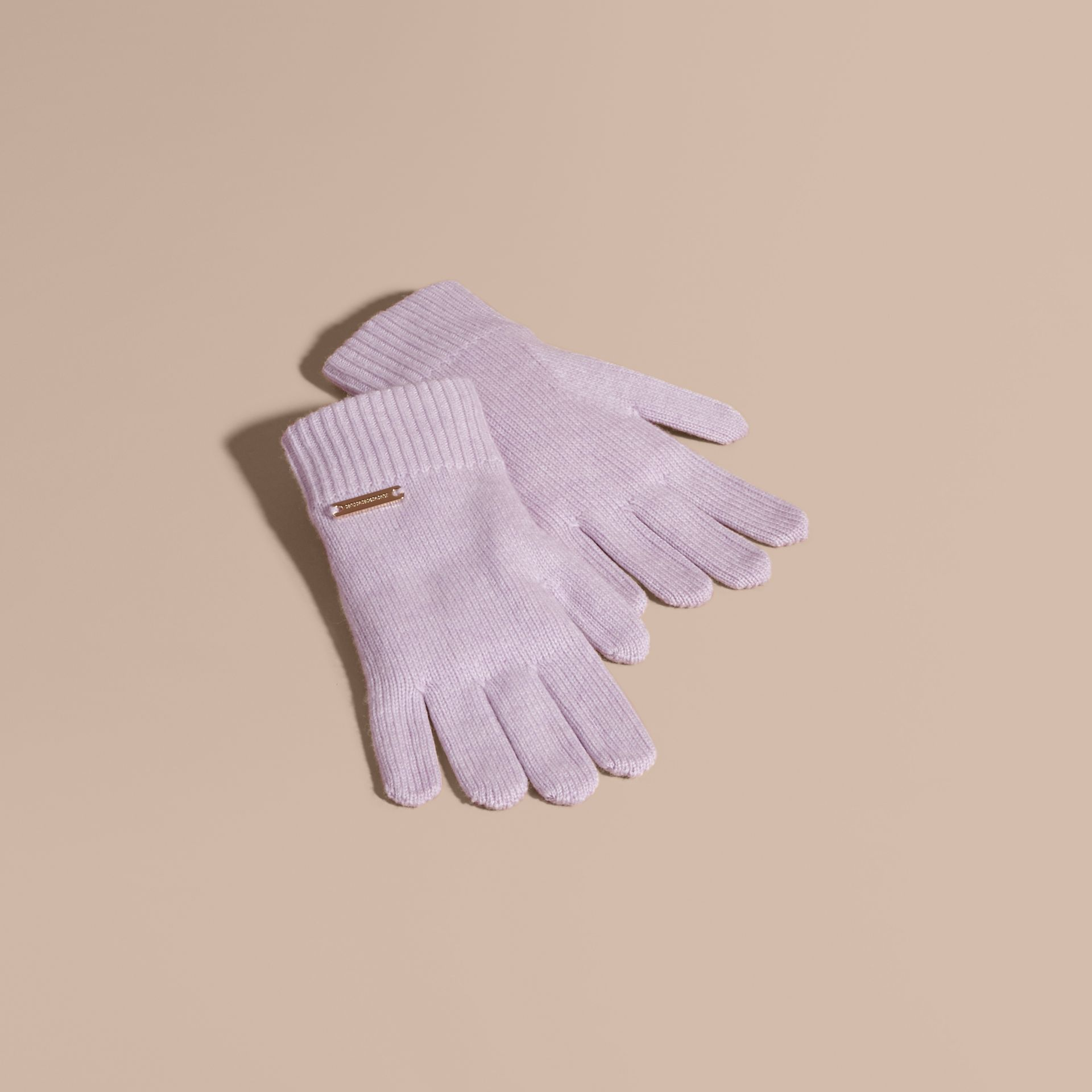 Ribbed Knit Wool Cashmere Gloves Dusty Lilac - gallery image 1