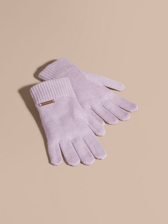 Ribbed Knit Wool Cashmere Gloves Dusty Lilac