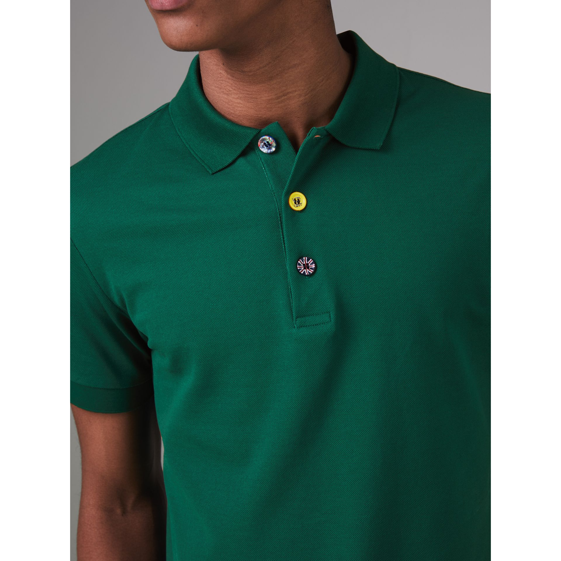 Painted Button Cotton Piqué Polo Shirt in Opal Green - Men | Burberry - gallery image 1