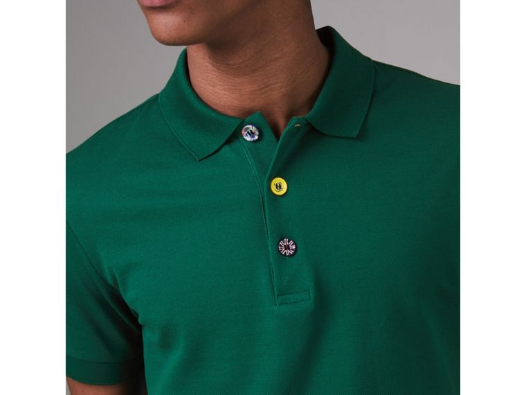 Painted Button Cotton Piqué Polo Shirt in Opal Green - Men | Burberry - cell image 1