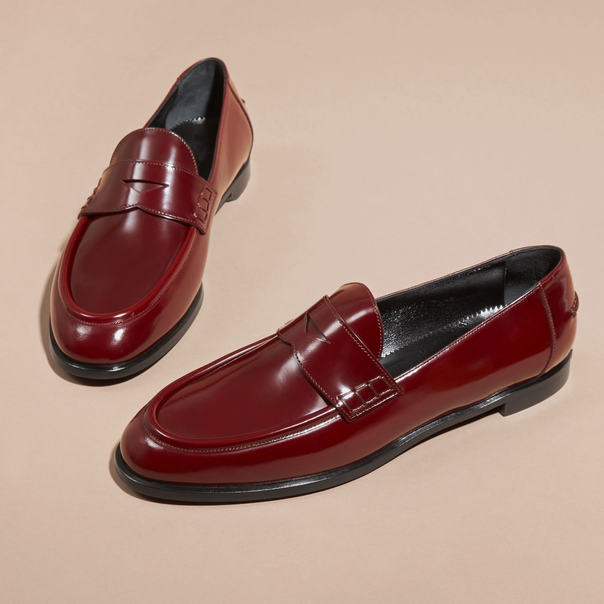 Mahogany red Polished Leather Loafers Mahogany Red - gallery image 3