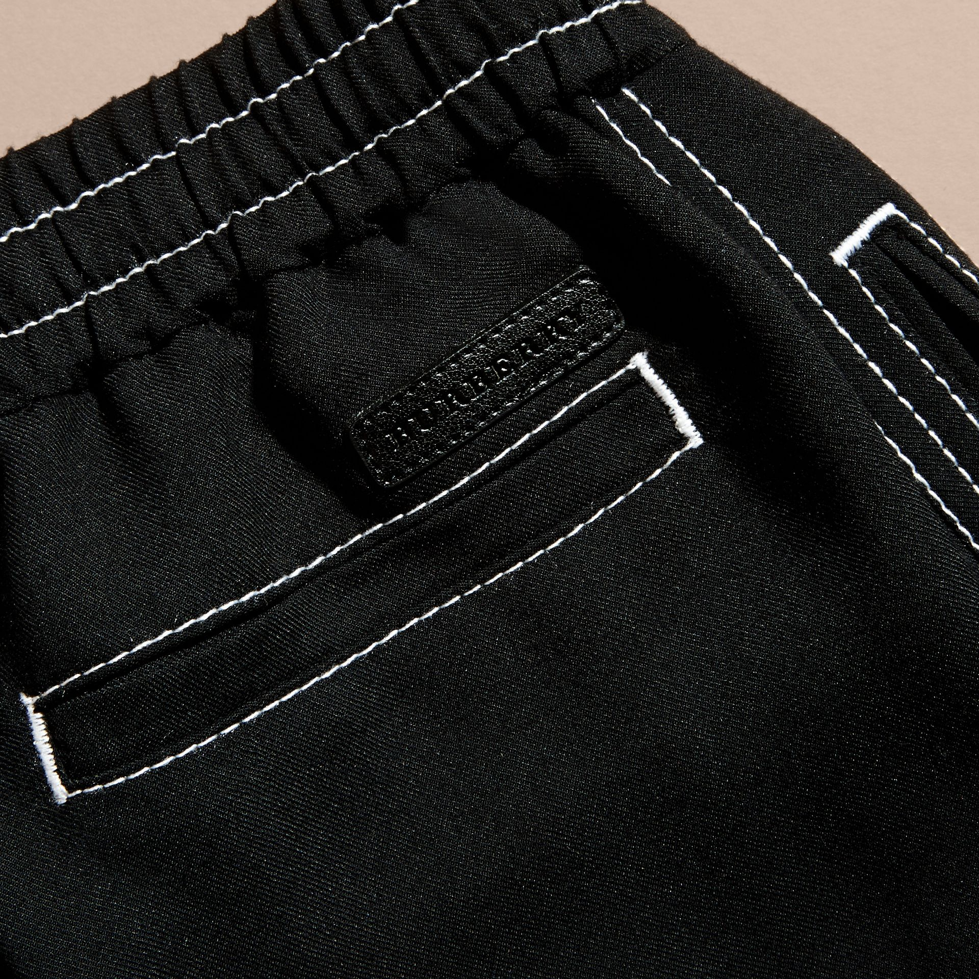 Black Topstitched Track Pants - gallery image 2