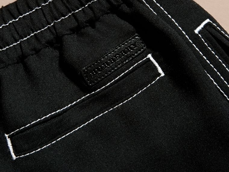 Black Topstitched Track Pants - cell image 1