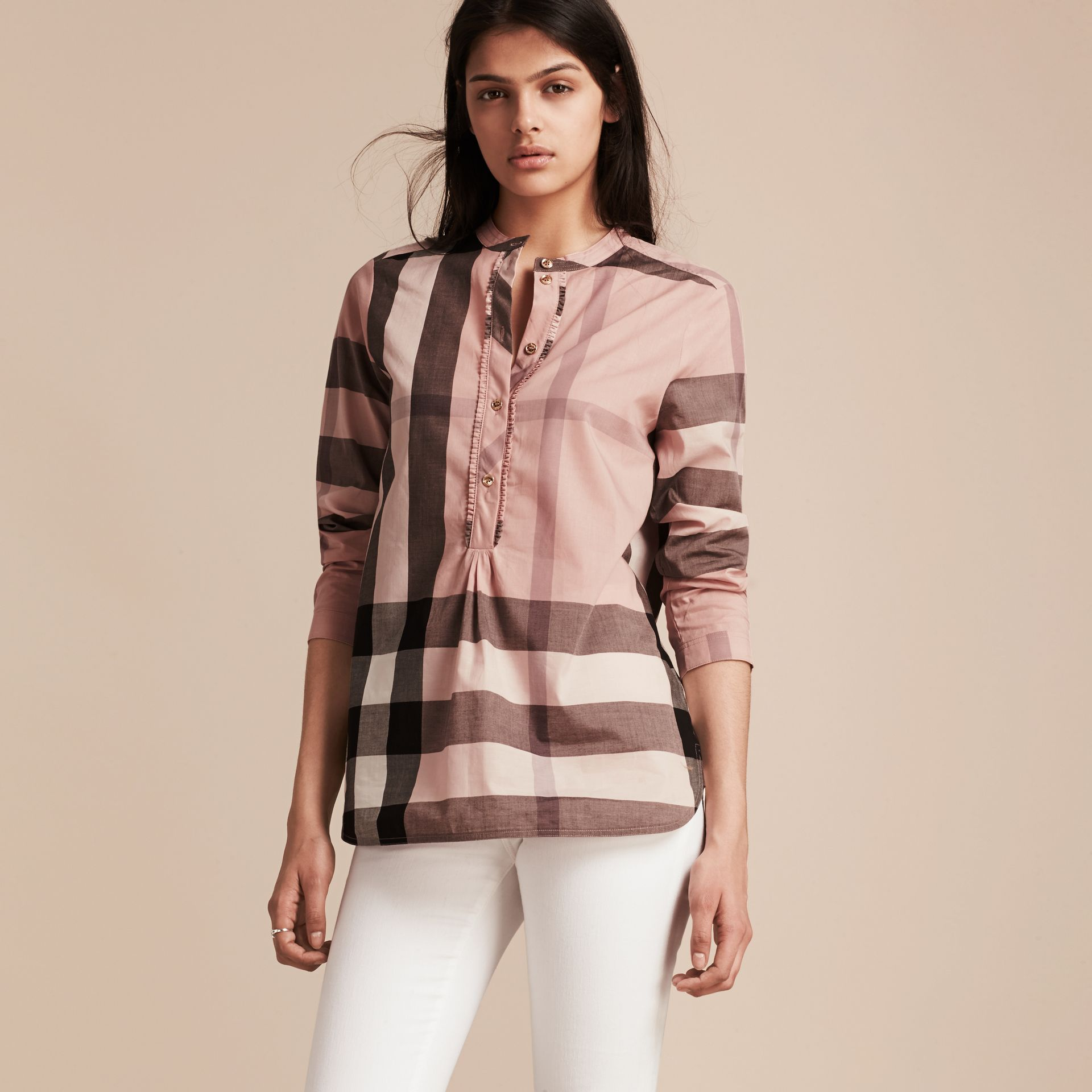 Check Grandad Collar Shirt in Antique Pink - Women | Burberry - gallery image 6