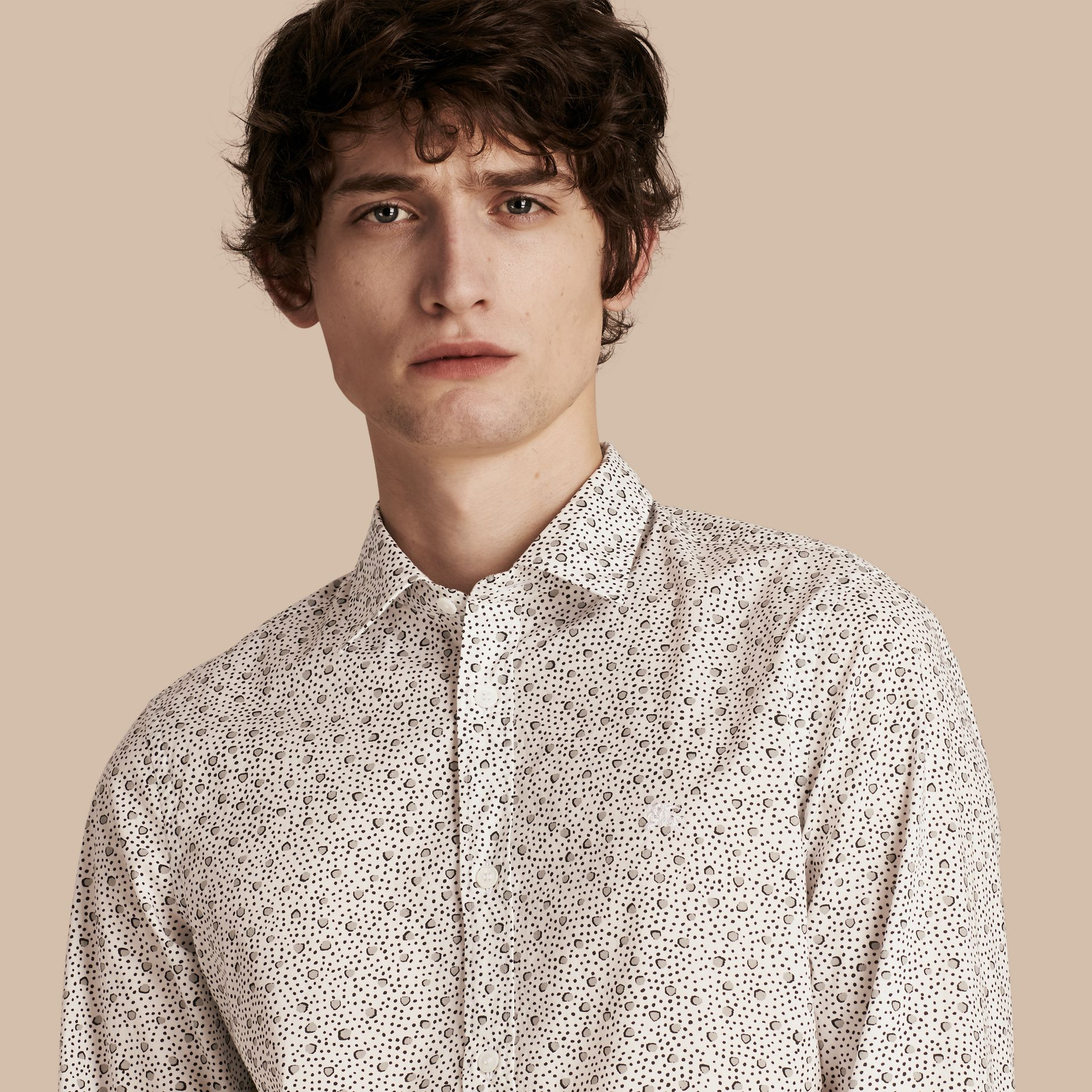 White Painterly Spot Print Cotton Shirt White - gallery image 1