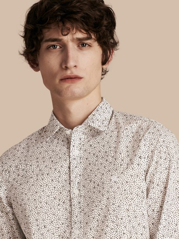 Painterly Spot Print Cotton Shirt White