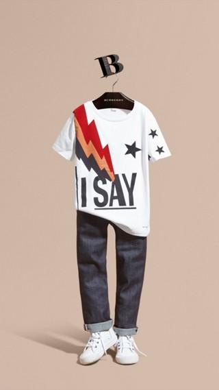 T-shirt graphique I Say avec détails en coton suédé et brodé