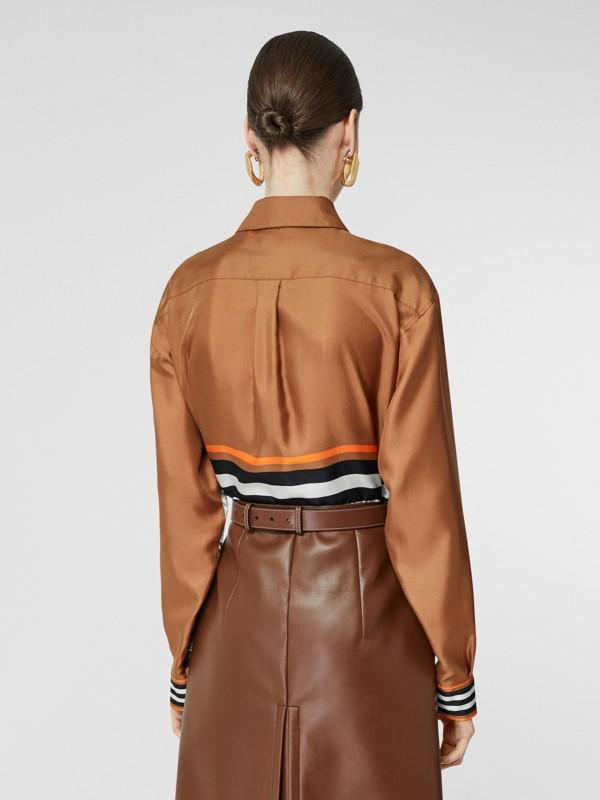 Camisa oversize de sarja de seda com estampa de aparelho náutico (Marrom Castanho Escuro) - Mulheres   Burberry - cell image 2