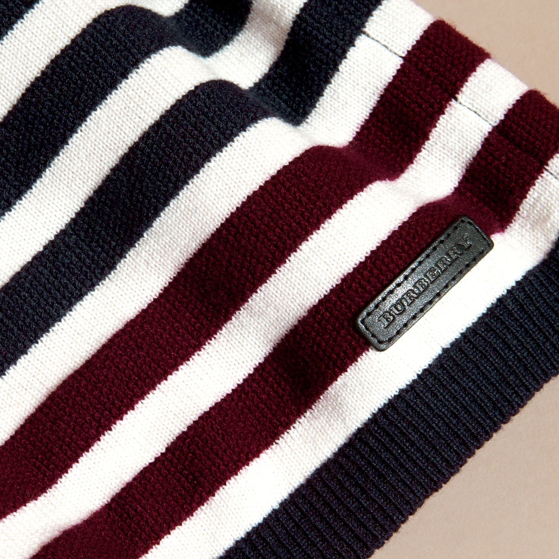 Navy Striped Cashmere Cotton Sweater - gallery image 2