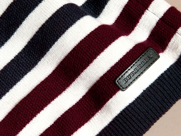 Navy Striped Cashmere Cotton Sweater - cell image 1