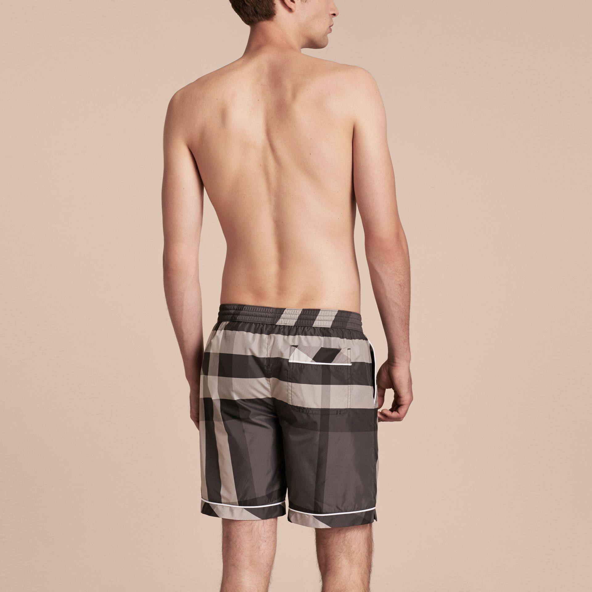 Charcoal Check Print Swim Shorts with Piping Detail Charcoal - gallery image 3