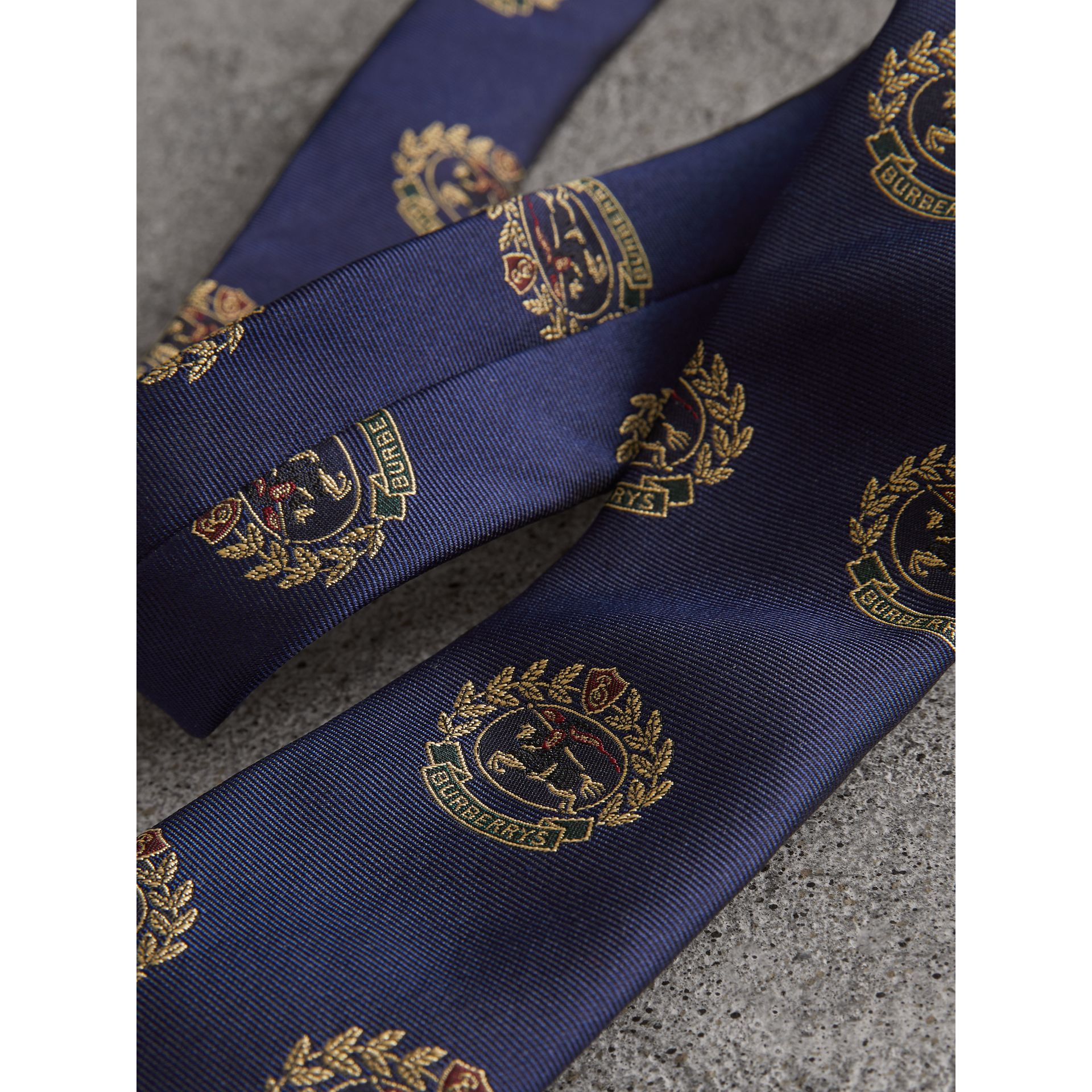 Slim Cut Archive Crest Silk Tie in Navy - Men | Burberry Australia - gallery image 1