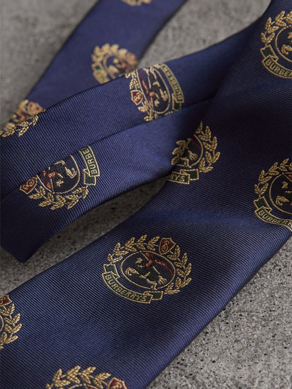 Slim Cut Archive Crest Silk Tie in Navy - Men | Burberry Australia - cell image 1