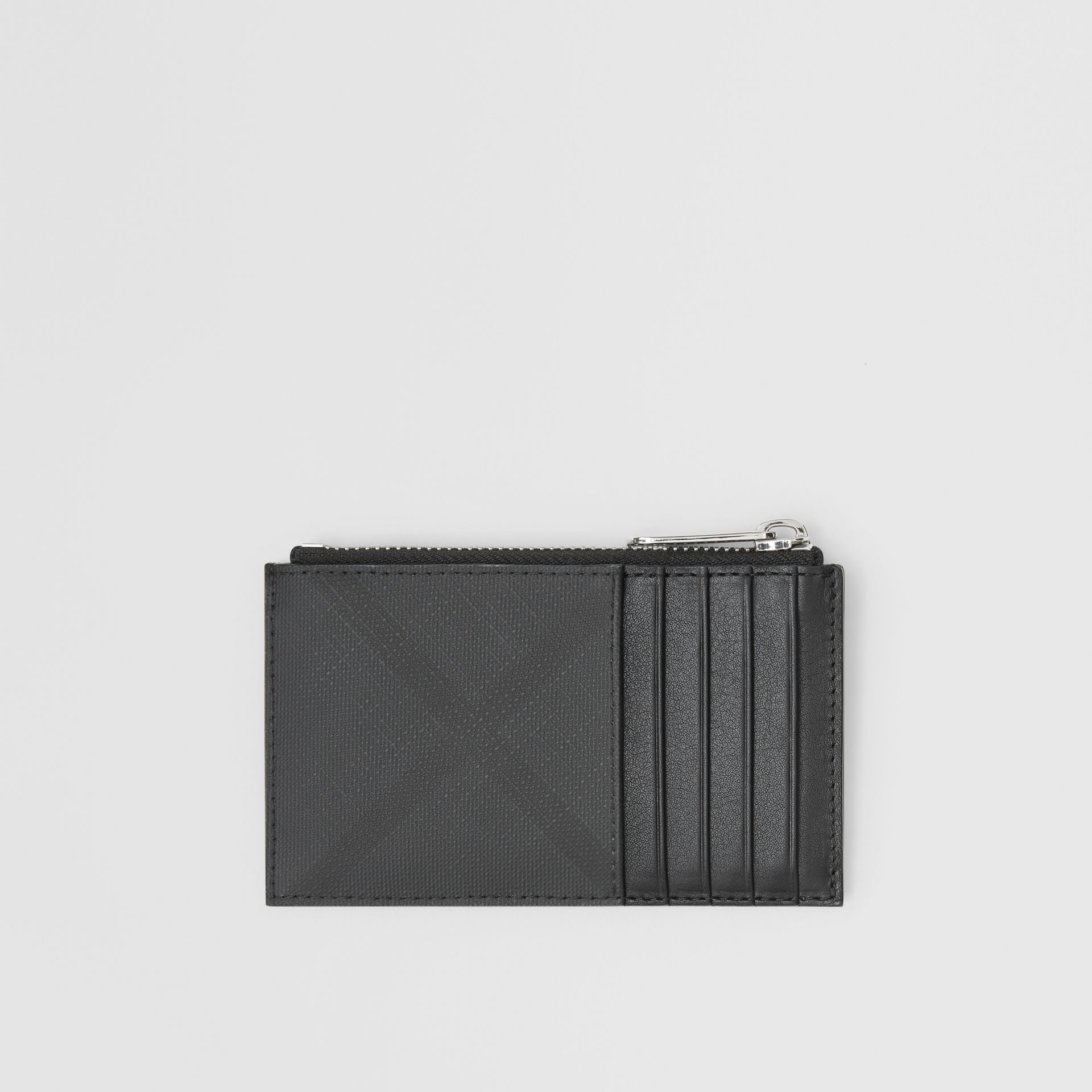 London Check and Leather Zip Card Case in Dark Charcoal - Men | Burberry - gallery image 0