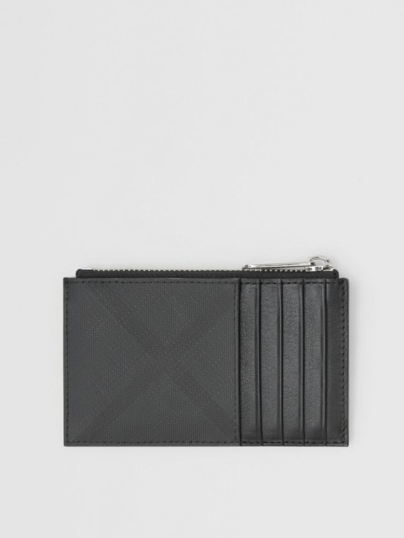 London Check and Leather Zip Card Case in Dark Charcoal