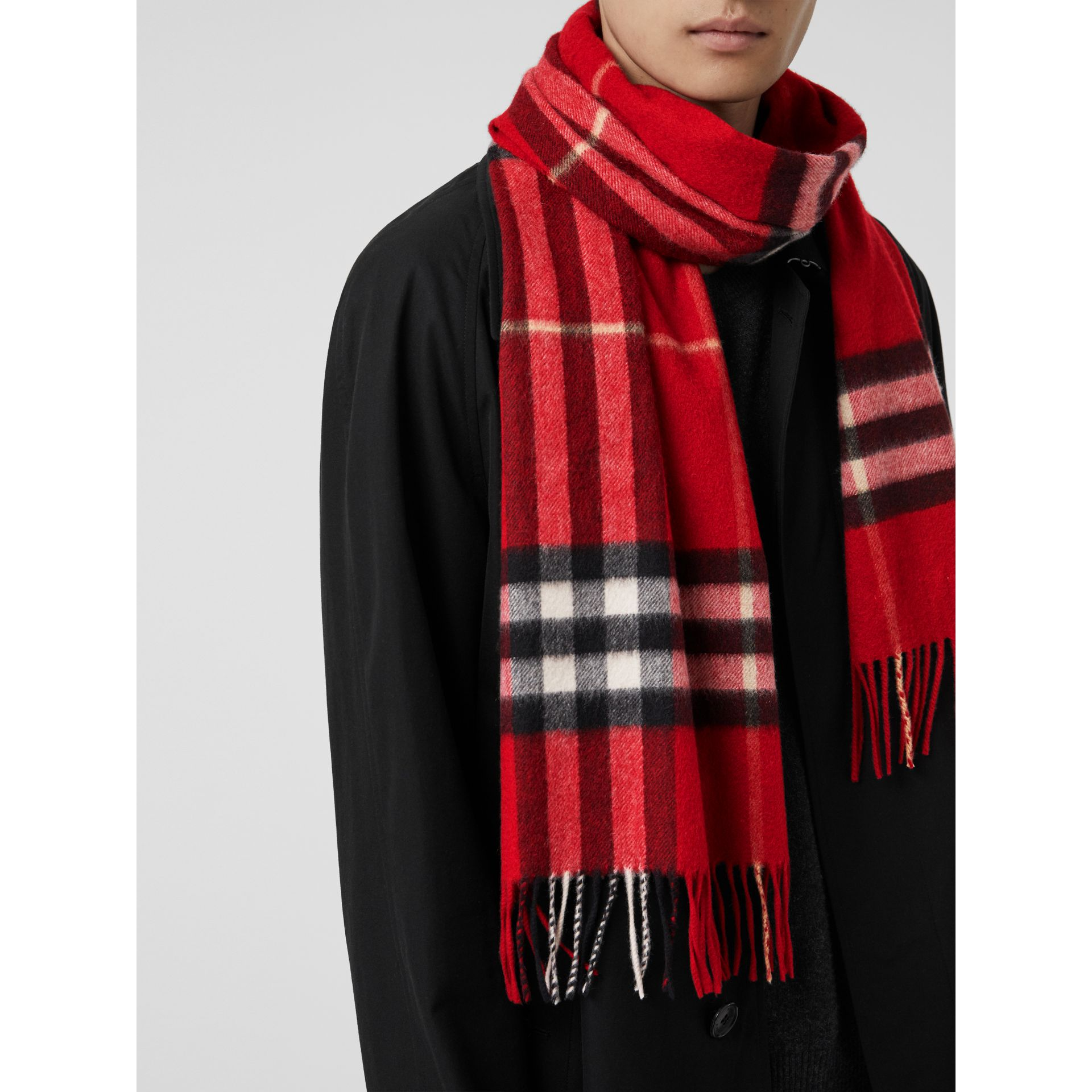 The Classic Check Cashmere Scarf in Parade Red | Burberry United Kingdom - gallery image 6