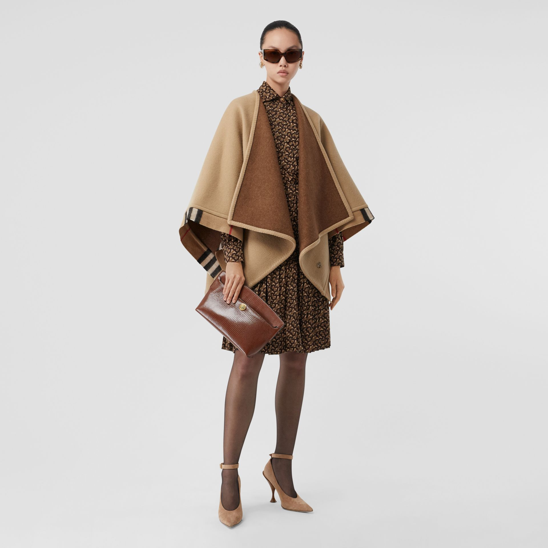 Check Trim Wool Cashmere Cape in Archive Beige - Women | Burberry - gallery image 0