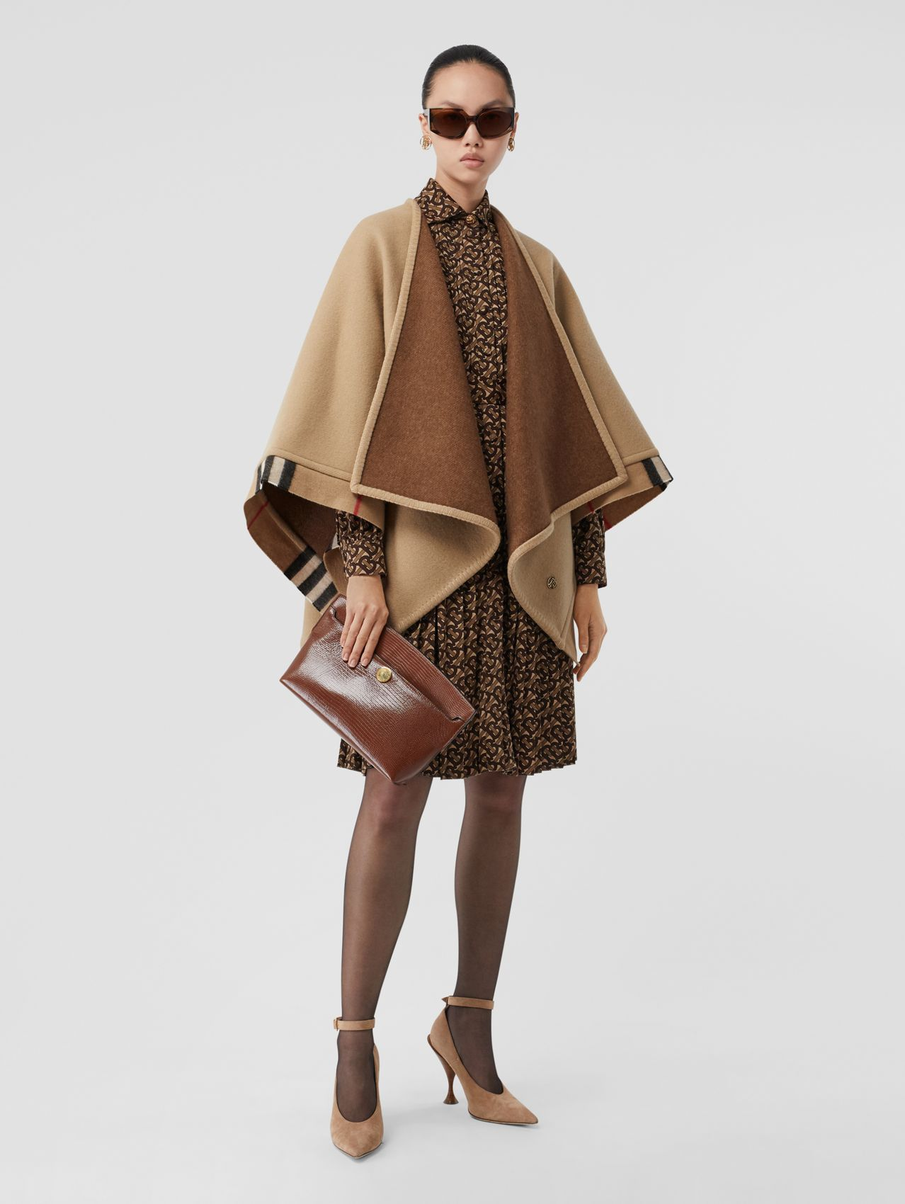 Check Trim Wool Cashmere Cape in Archive Beige