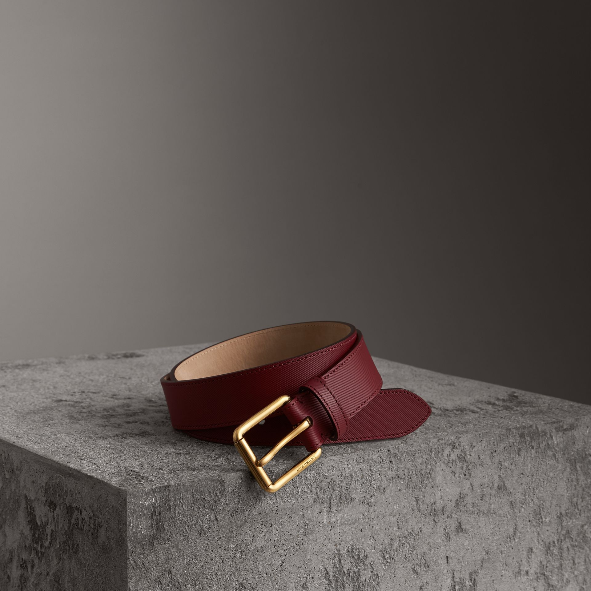 Trench Leather Belt in Antique Red - Men | Burberry Australia - gallery image 0