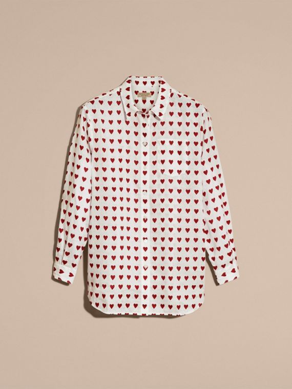 Heart Print Linen Shirt Parade Red - cell image 3