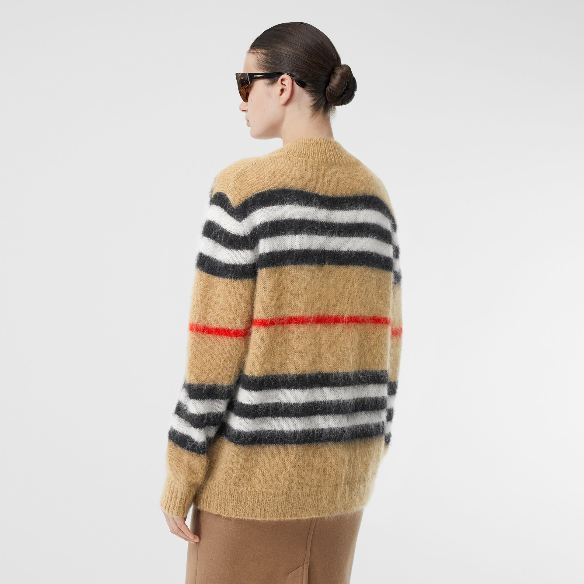 Icon Stripe Mohair Wool Blend Cardigan in Archive Beige - Women | Burberry - gallery image 2