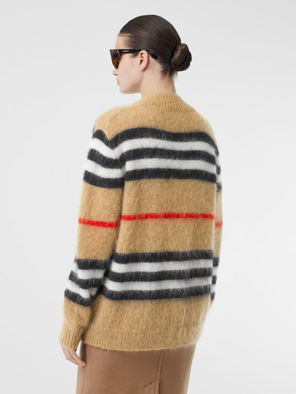 Icon Stripe Mohair Wool Blend Cardigan in Archive Beige - Women | Burberry - cell image 2