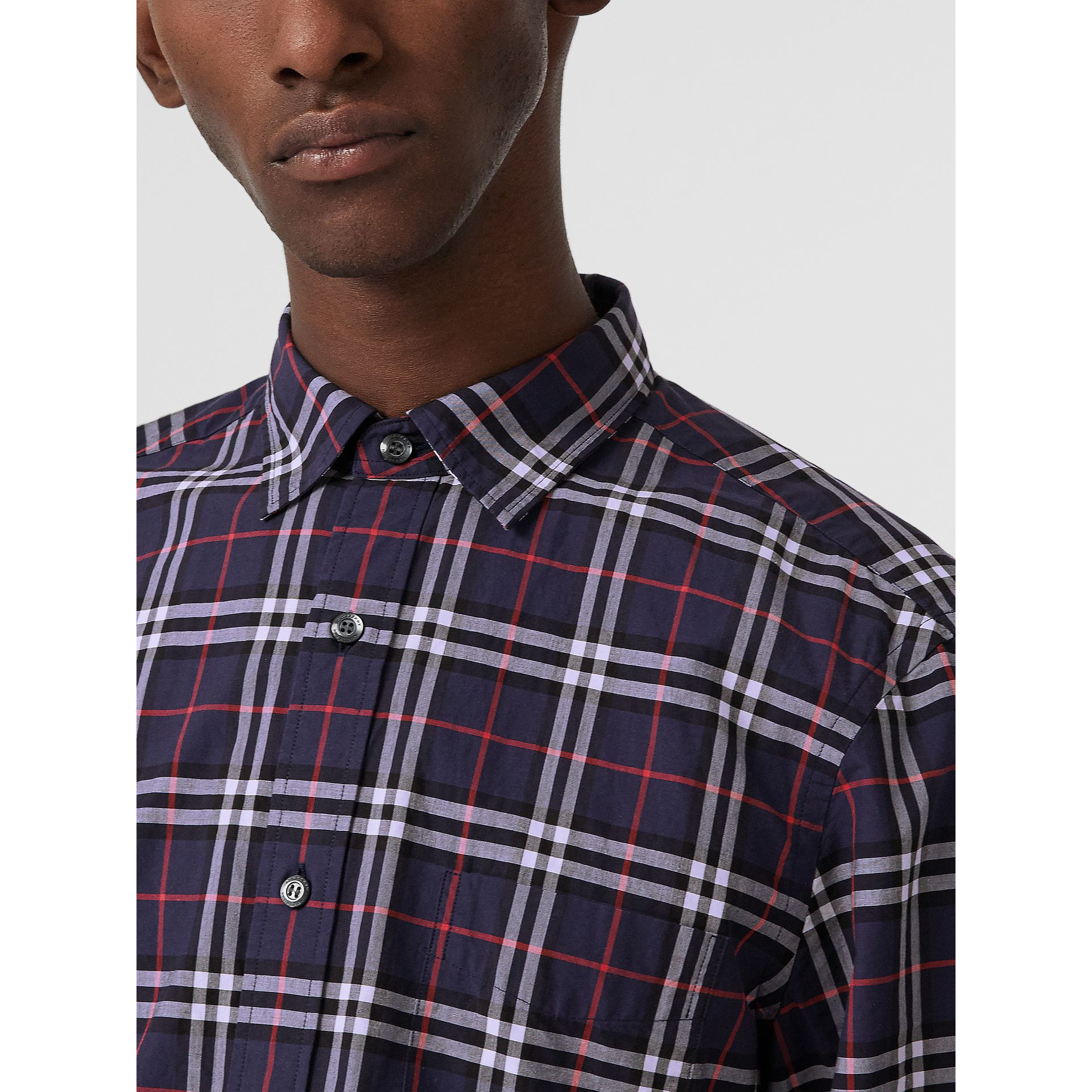 Check Cotton Shirt in Navy - Men | Burberry - gallery image 1