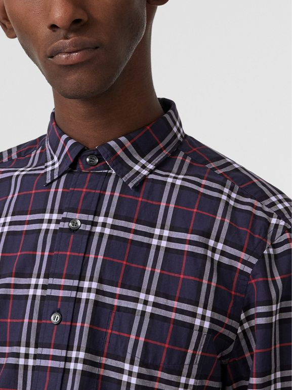 Check Cotton Shirt in Navy - Men | Burberry United States - cell image 1