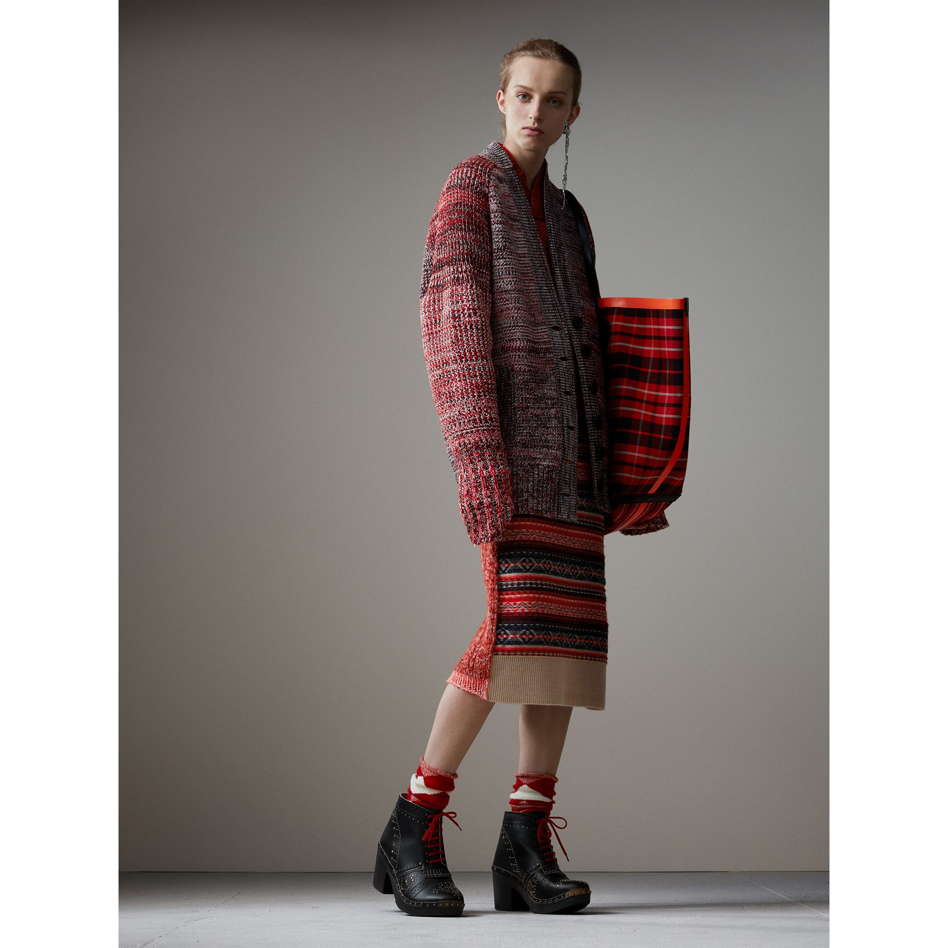 Fair Isle and Cable Knit Wool Cashmere Blend Skirt in Multicolour - Women | Burberry - gallery image 5
