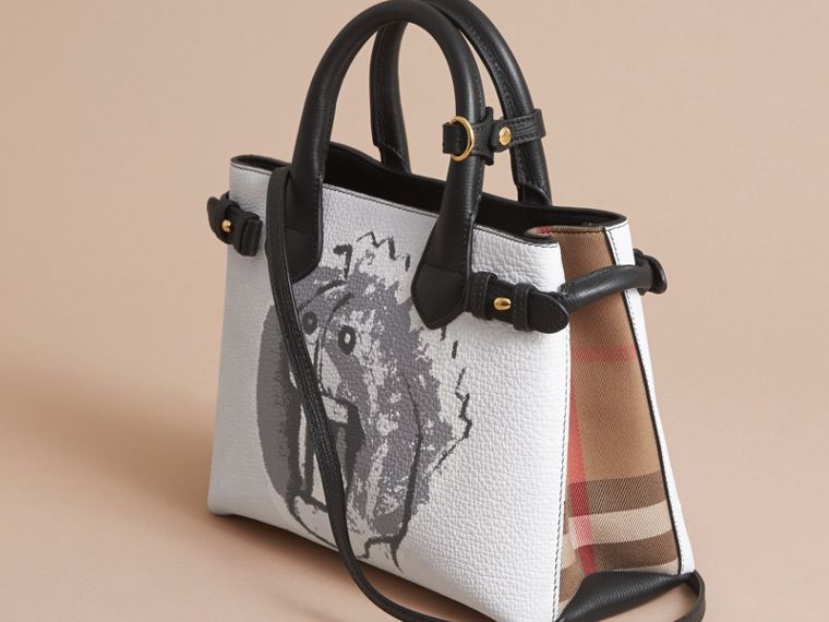 The Small Banner in Leather with Pallas Heads Print in Black - Women | Burberry Singapore - cell image 4