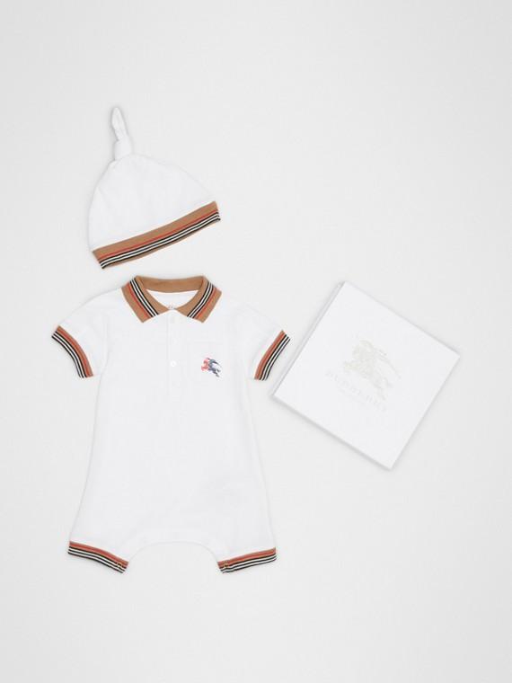 Conjunto de regalo para bebé de dos piezas en piqué de algodón con terminaciones a rayas (Blanco)