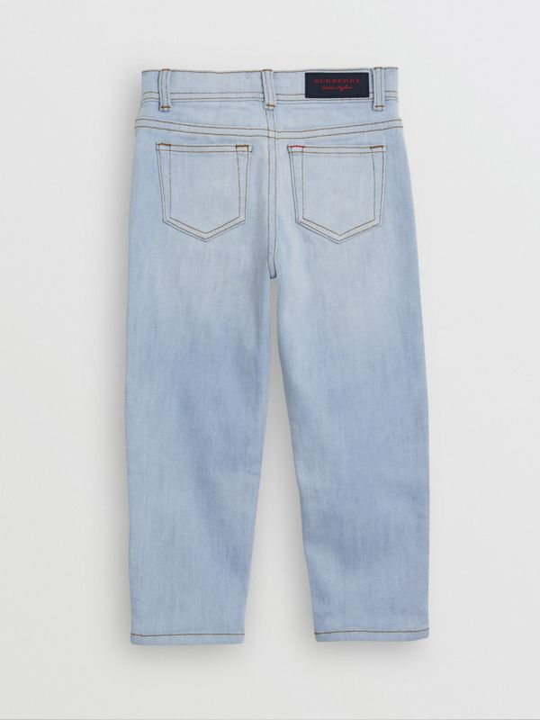 Relaxed Fit Stretch Denim Jeans in Light Blue - Girl | Burberry - cell image 3