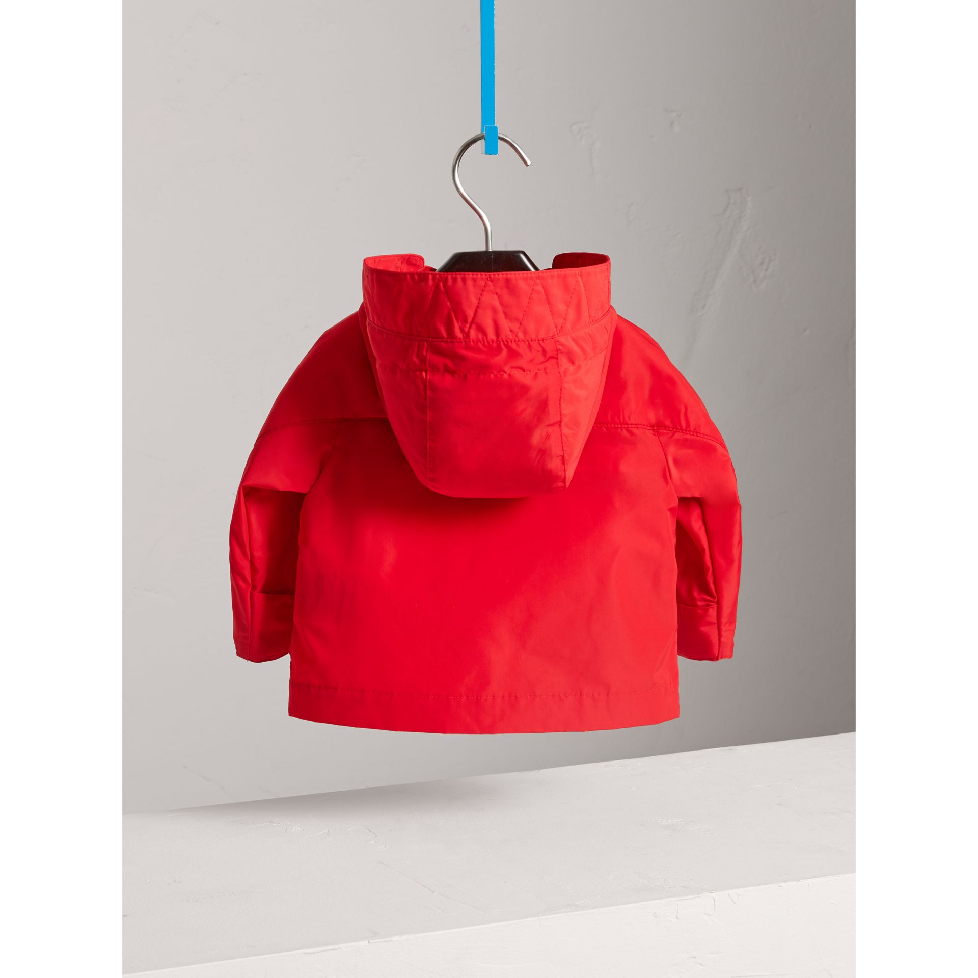Shape Memory Taffeta Hooded Jacket in Bright Orange Red | Burberry - gallery image 3