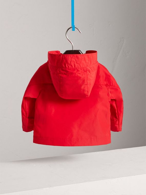 Shape Memory Taffeta Hooded Jacket in Bright Orange Red | Burberry United Kingdom - cell image 3