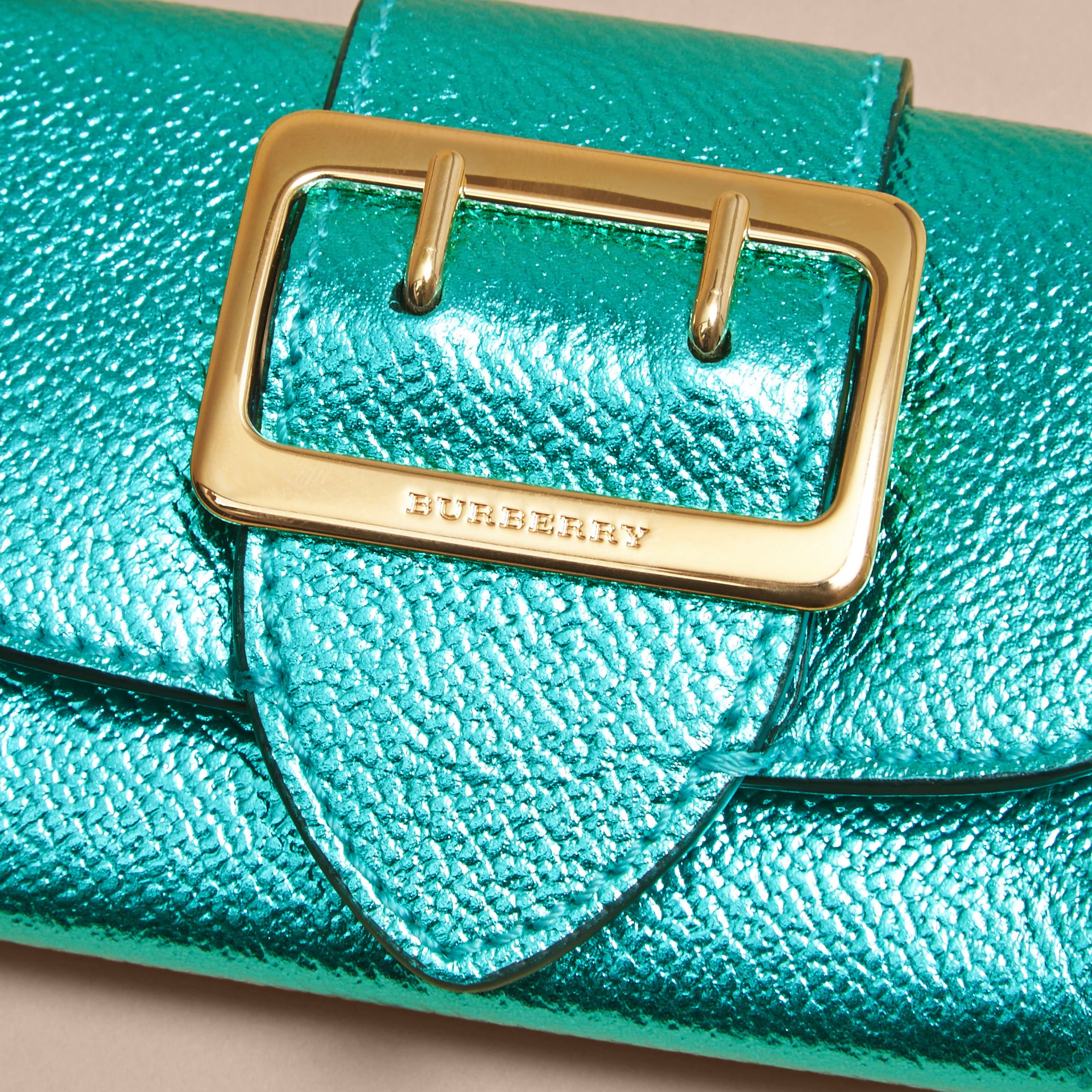 Metallic Leather Card Case in Emerald - gallery image 2