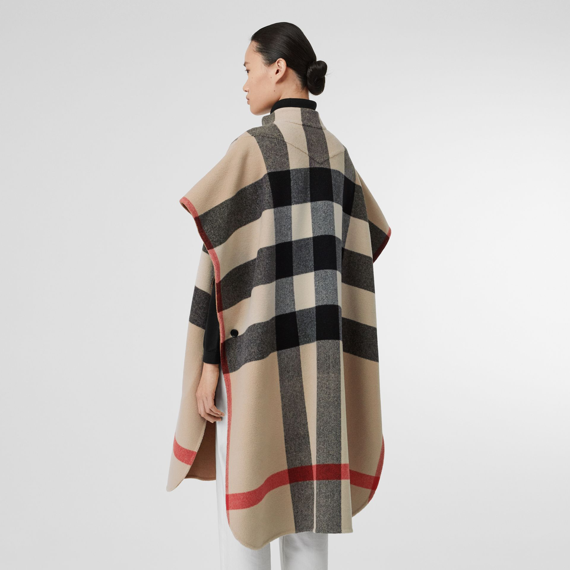 Reversible Check Wool Blend Poncho in Camel - Women | Burberry United Kingdom - gallery image 2