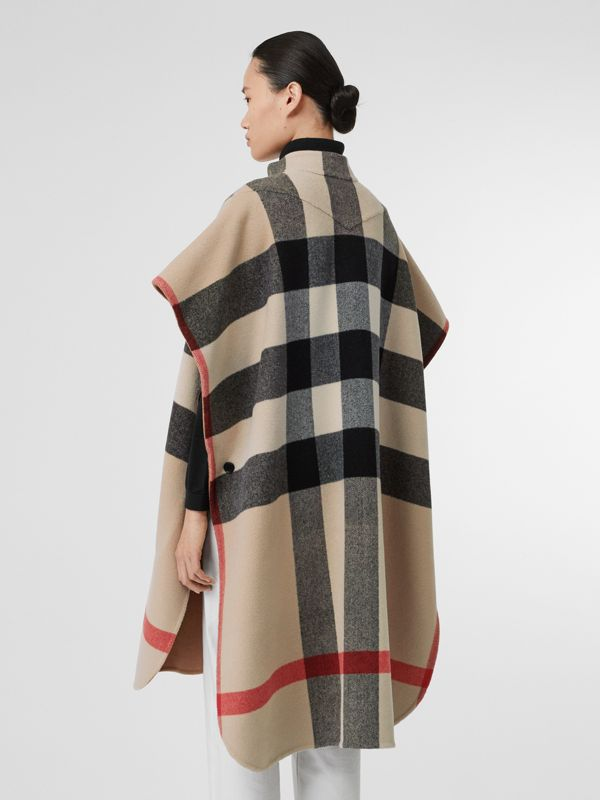 Reversible Check Wool Blend Poncho in Camel - Women | Burberry - cell image 2